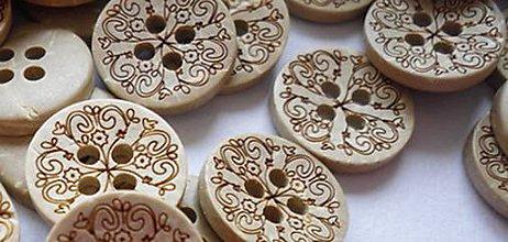 Galantéria - Kokosový gombík gravírovaný 13mm - 8442123_