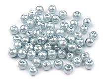 - Voskované perličky 6 mm, 30 ks - modré holubie - 8440111_
