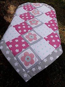 Textil - DĚTSKÁ PATCHWORKOVÁ DEKA ...růžová 110 x 110 cm - 8445384_