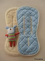Textil - Bugaboo Seat Liner ICE BLUE fabric/ Podložka do kočíka pastelová bledomodrá Elegant prešitie na mieru - 8443180_