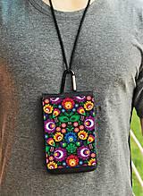 Na mobil - Univerzálne púzdro na mobil farebné folk kvety . biele aj čierne - 8445101_