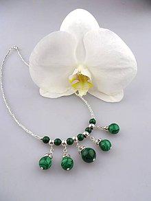 Náhrdelníky - malachit náhrdelník luxusný v striebre - 8445645_