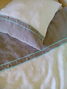 Úžitkový textil - Ľanové posteľné obliečky White - natural - mentol - 8444868_