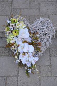 Dekorácie - Srdce s orchideou - 8444293_
