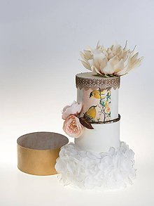 Krabičky - dekoračný box / svadobná torta Vtáčiky - 8444979_