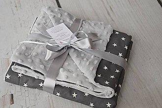 Textil - Minky deka grey s tmavo-sivými hviezdami 70*100cm - 8446125_