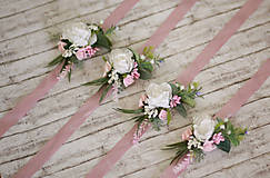 """Náramky - Ružový kvetinový náramok pre družičky """"Rustic"""" - 8448145_"""