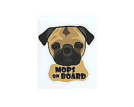 Papier - Nálepka na auto - Mops on board - 8446980_