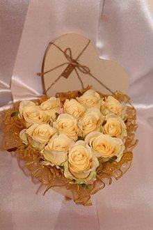 Dekorácie - Flower box krémové srdce - 8448053_