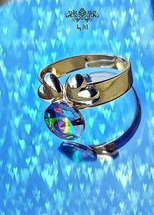 Prstene - pozlátený prstienok so swarovski kryštálom - 8446202_