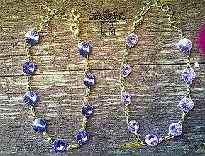 Náramky - krásny pozlátený náramok so swarovski kryštálmi - 8446281_