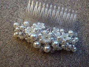 Ozdoby do vlasov - perlový hrebienok Ivory 2 - 8447668_
