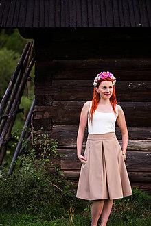 Sukne - Elegantná hnedá sukňa - 8446727_