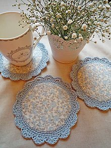 Úžitkový textil - Vintage podšálky - modré ruže - 8447843_