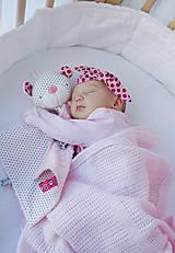 Hračky - Macko mojkáčik šedo-bielo-ružový - 8446209_