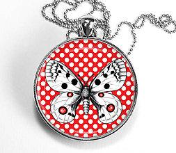 Náhrdelníky - Motýľ s bodkami - červený náhrdelník - velký - 8446715_