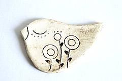 Odznaky/Brošne - Keramická brošňa Snívajúci vtáčik - 8446987_
