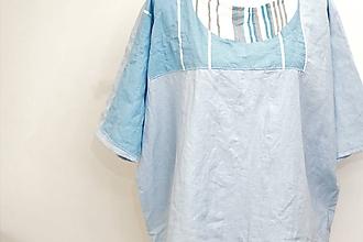 Topy - Ľanový oversized top s aplikáciou z bavlny. - 8449084_