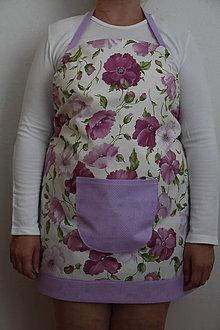 Iné oblečenie - Zásterka s fialovými kvetmi - 8450133_