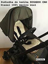 Textil - Bugaboo Seat Liner ARMY by Diesel/ Podložka do kočíka HNEDÁ Camel kaki Elegant prešitie na mieru - 8450379_