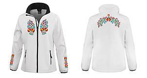 Kabáty - Softshellová bunda folk farebné kvety 04 - 8450067_