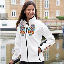 Kabáty - Softshellová bunda folk farebné kvety 04 - 8450066_