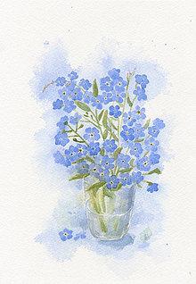 Obrazy - Nezábudky - akvarel - 8450062_