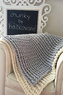 Úžitkový textil - Deka ,, chunky,, pre bábätko šedomodrá - 8449837_