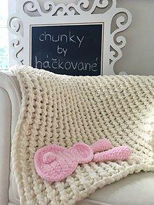 Úžitkový textil - Deka ,,chunky,, pre bábätko krémová - 8449980_