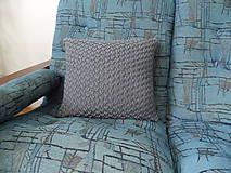 Úžitkový textil - pletený vankúšik šedomodrý - 8449367_