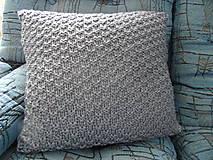 Úžitkový textil - pletený vankúšik šedomodrý - 8449369_