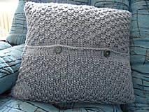 Úžitkový textil - pletený vankúšik šedomodrý - 8449370_