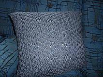 Úžitkový textil - pletený vankúšik šedomodrý - 8449371_
