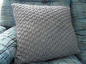 Úžitkový textil - pletený vankúšik šedomodrý - 8449368_