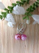 Náušnice - Ružové achátové náušnice v striebre - 8450138_