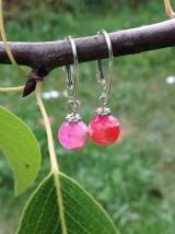Náušnice - Ružové achátové náušnice v striebre - 8450140_
