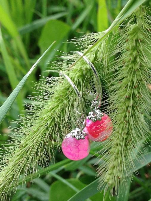 Ružové achátové náušnice v striebre
