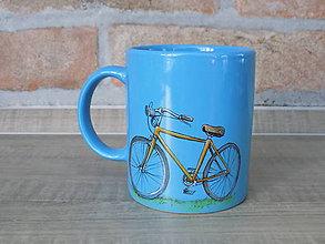 Nádoby - Modrý hrnček - Retro bicykel - 8449252_