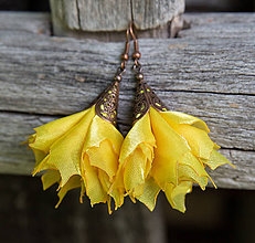 Náušnice - Tanečnice žlté - elegant - náušnice - 8450366_