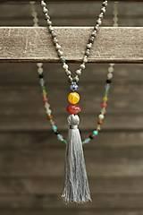 - Japa Mala náhrdelník z minerálov so strapcom  - 8449799_