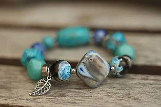 Náramky - Boho náramok z minerálov aqua - 8448422_
