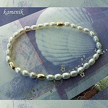 Náramky - Říční perly s pozlacenými stříbrnými olivkami - náramek - 8451637_