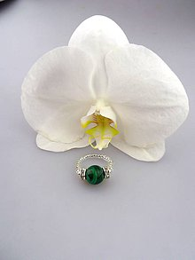 Prstene - malachit prsteň nastaviteľná veľkosť - 8452208_