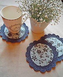 Úžitkový textil - Vintage podšálky - modré - 8451503_