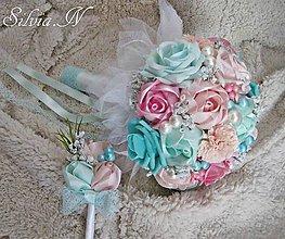 Dekorácie - Svadobná kytica,svadobné pierko - 8453524_