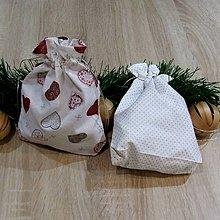 Úžitkový textil - Strieborné variácie srdiečka a bodky - vrecko na darčeky - 8451202_