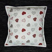Úžitkový textil - Strieborné variácie srdiečka a bodky - vankúš(2) 40x40 - 8452214_
