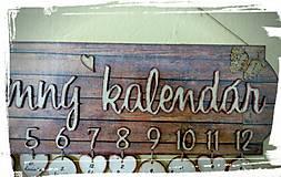 Dekorácie - Rodinný kalendár hnedé drevo - 8453267_