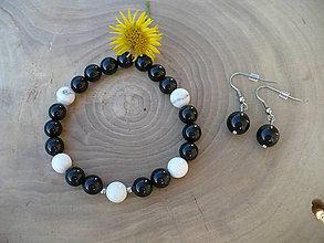 Sady šperkov - náramok a náušnice z Onyxu a Magnezitu - 8452099_