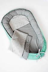 - _HAJI... hniezdo pre bábätká... obojstranné... Mint & Biele hviezdičky na šedej - 8454027_